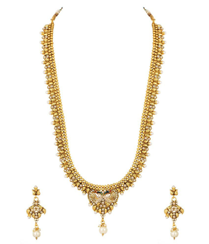Voylla Pearl, Cz Studded Twin Peacock Necklace Set With Gold Plating