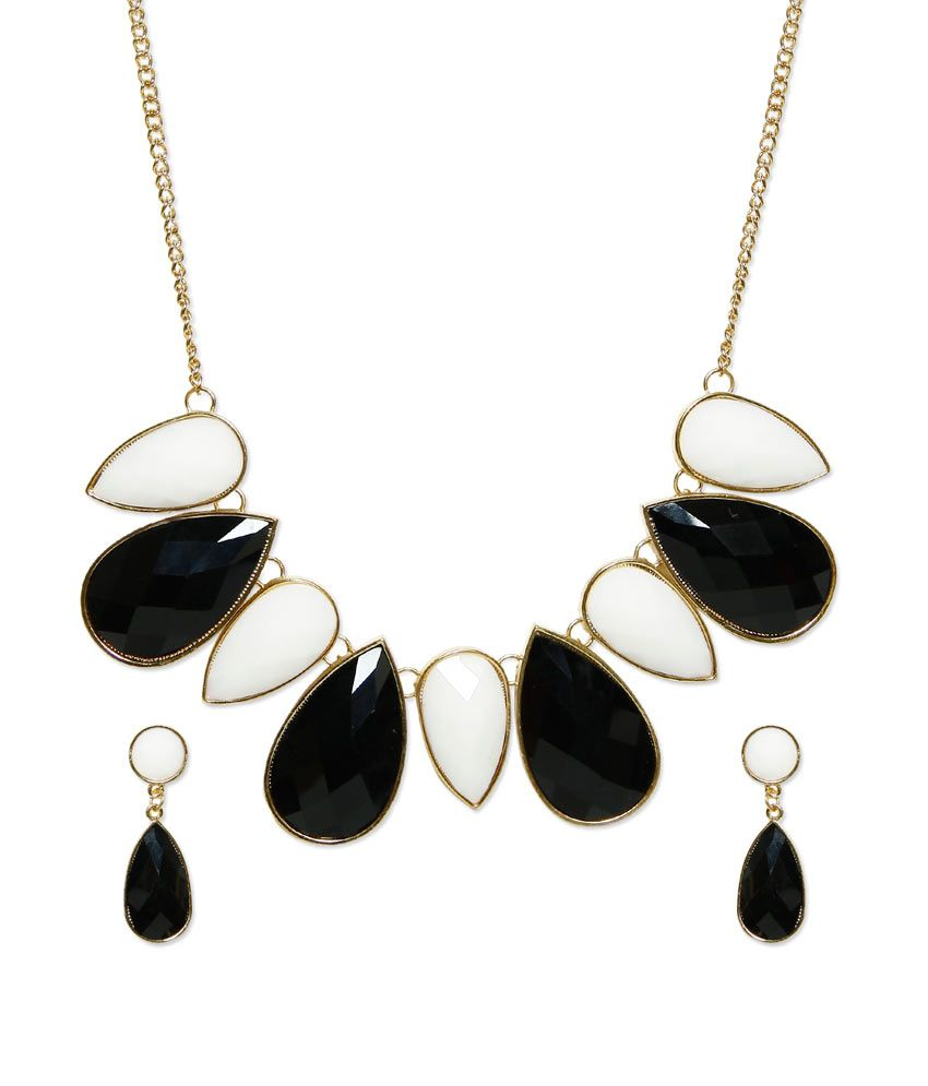 Fayon Black Style Diva Contemporary Party Wear Coloured Bead Necklace Set