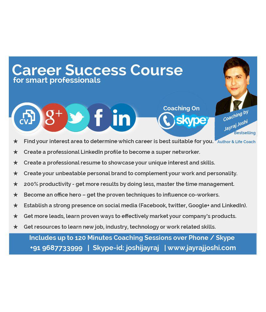 Career Success Course for smart professionals Counselling on Skype/Phone Call in 3 Languages; English,Hindi,Gujarati  by Jayraj Joshi by JayrajJoshi