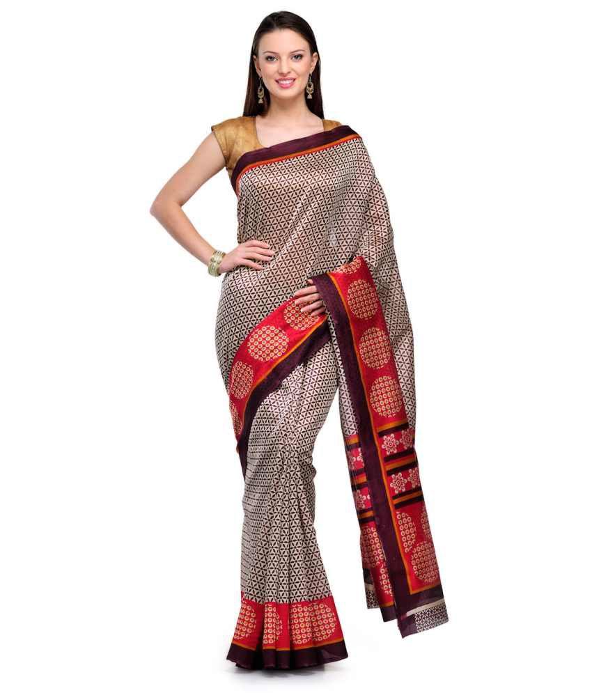 Studio Shubham Red Printed Art Silk Saree