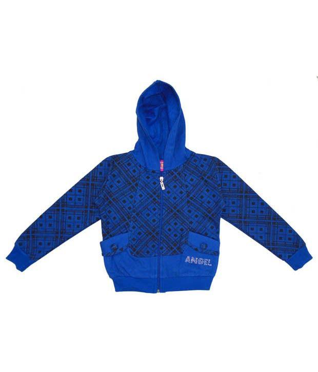 Sweet Angel Blue Hooded Sweatshirt For Girls