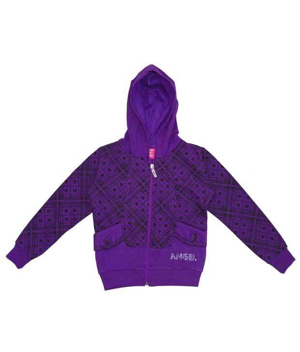 Sweet Angel Purple Hooded Sweatshirt For Girls