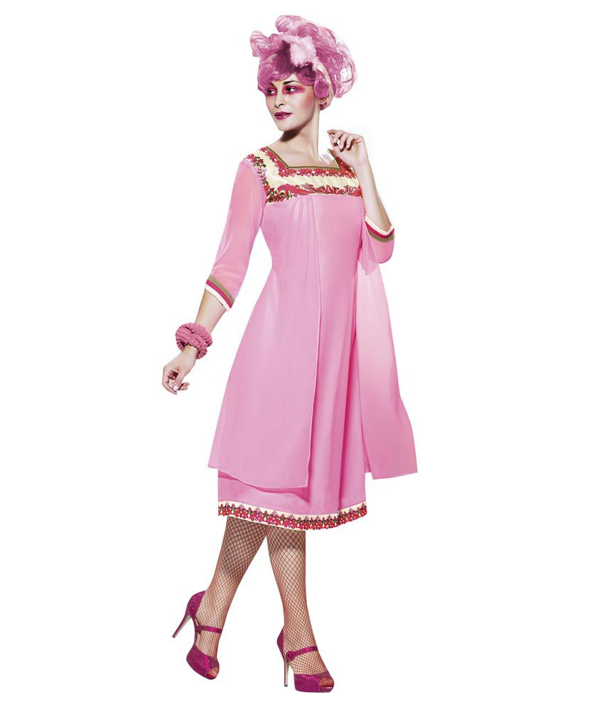 Vibes Pure Georgette Pink Kurti