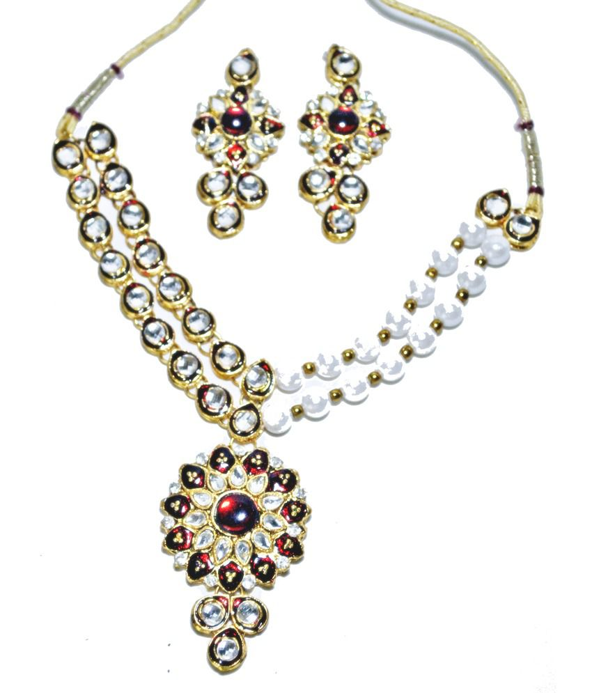 Jai Shree Stunning Kundan Pearl Set Having Maroon Meena Work With Earrings