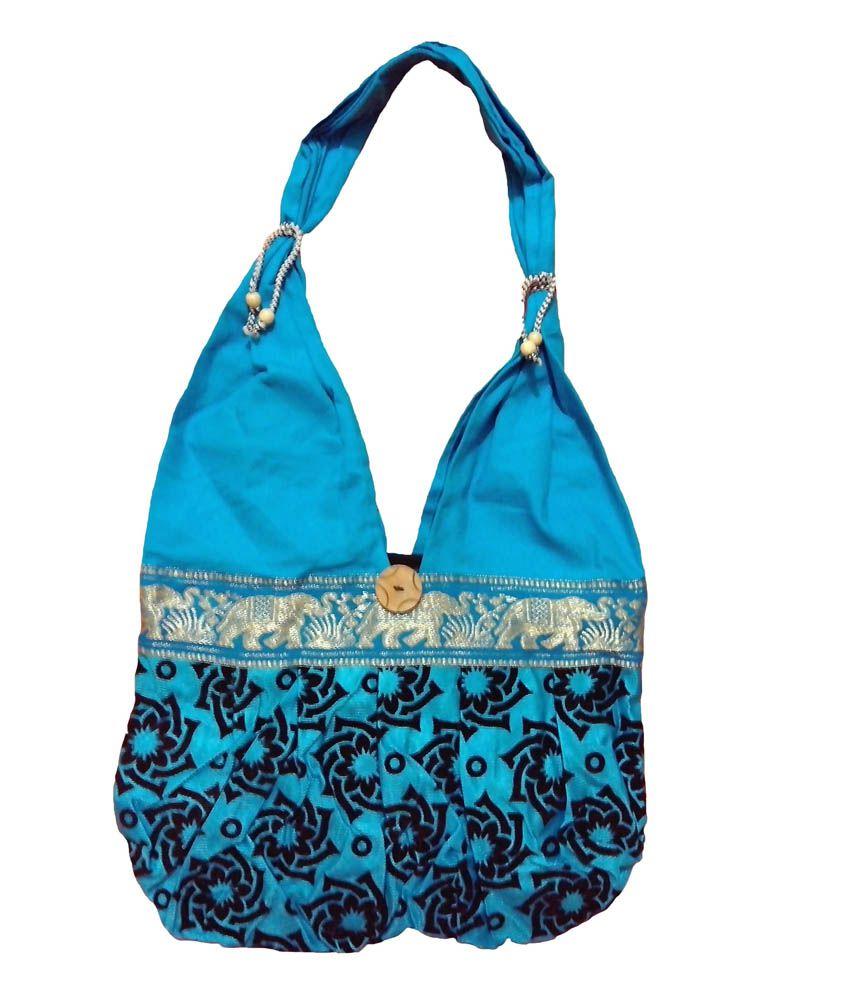 Amar Agencies Sky Blue Canvas Shoulder Bag