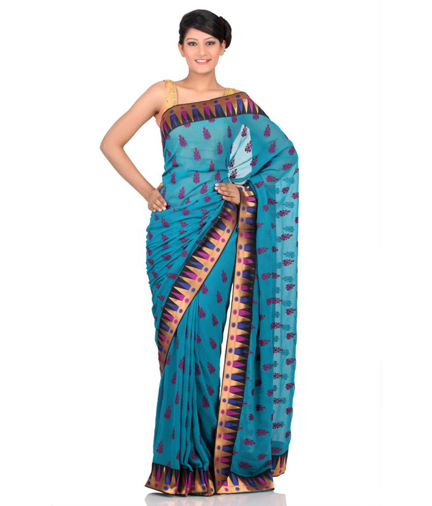 Chhabra555 Blue Embroidered Semi Chiffon Saree With Blouse Piece