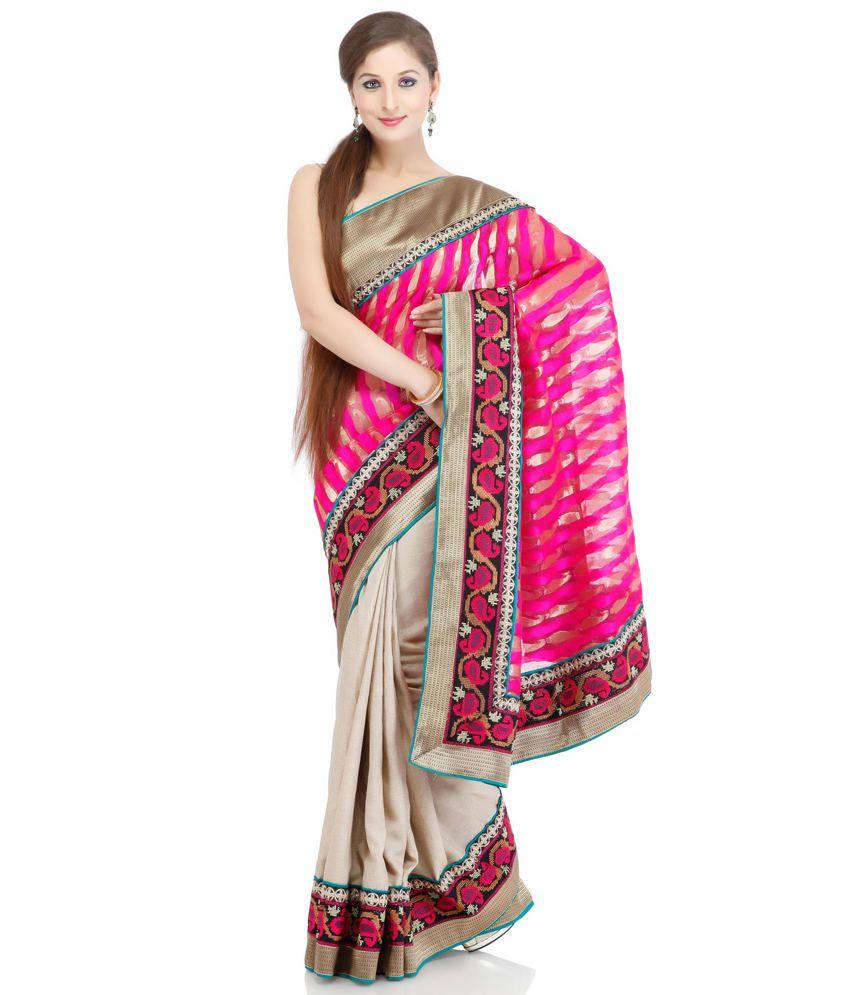 Chhabra 555 Pink Tussar Silk Saree