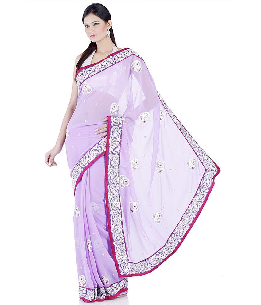 Chhabra555 Purple Embroidered Chiffon Saree With Blouse Piece