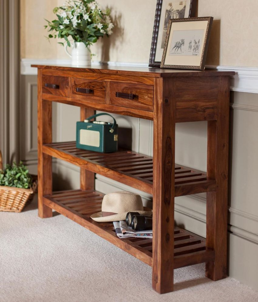 Sheesham wood Console table with e storage drawers and two ...