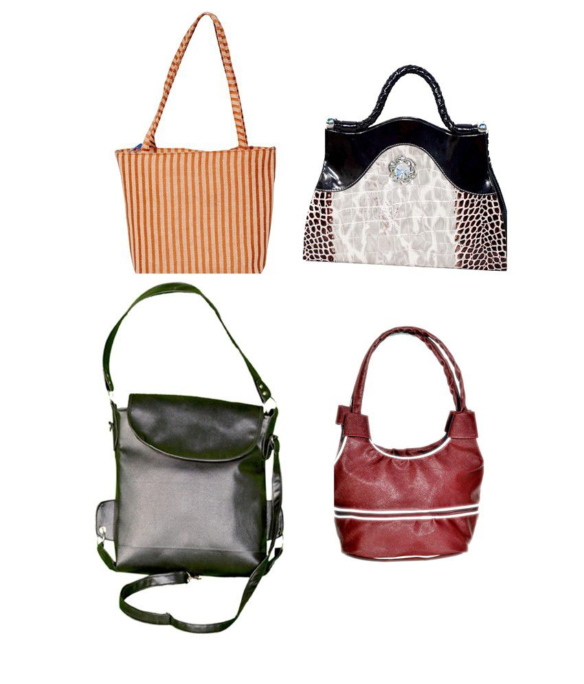 D Jindals Combo Of Multicolour Three Handbag With Black Clutch