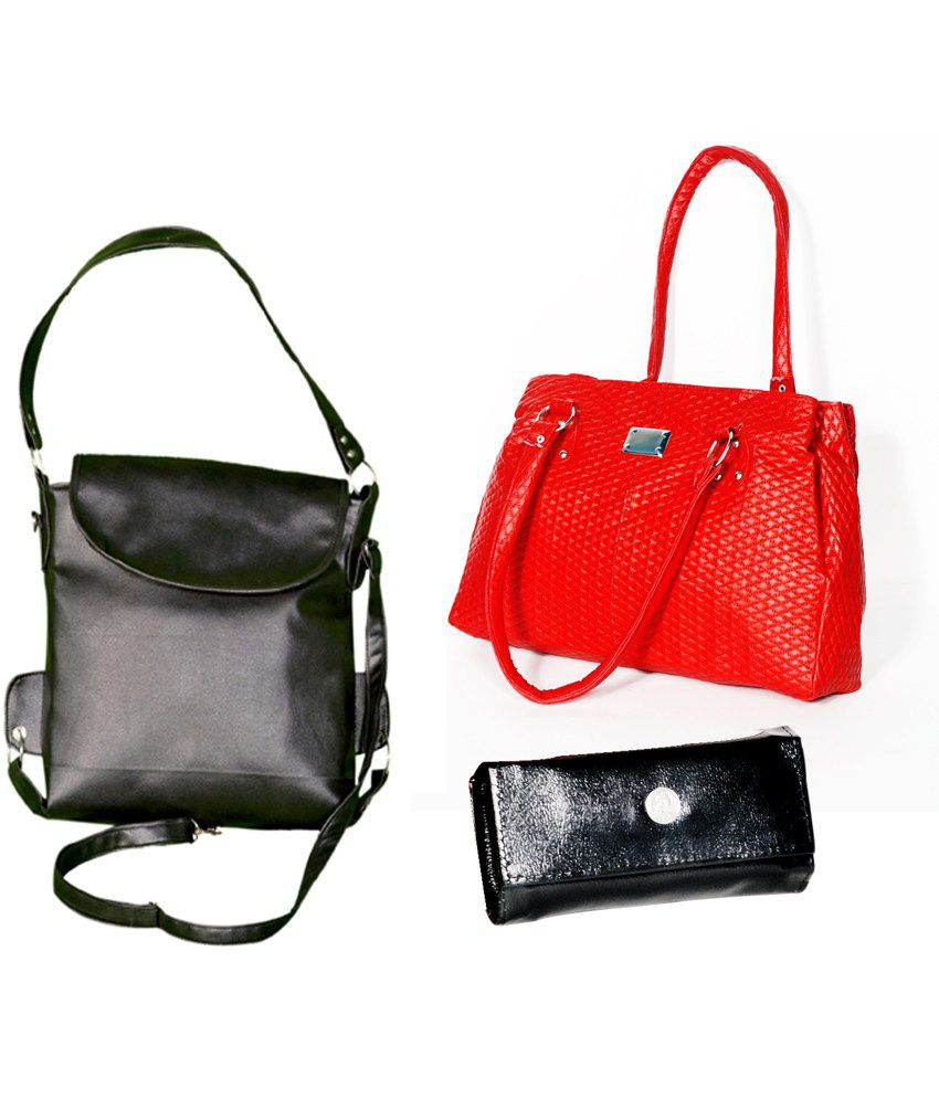 D Jindals Combo Of Red And Black Handbag With Black Purse