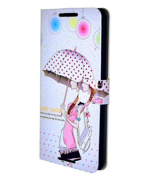hot sale online 1c96e 002ae Dressmyphone Cute Printed Leather Flip Cover For Htc Desire 816 - White And  Multicolor