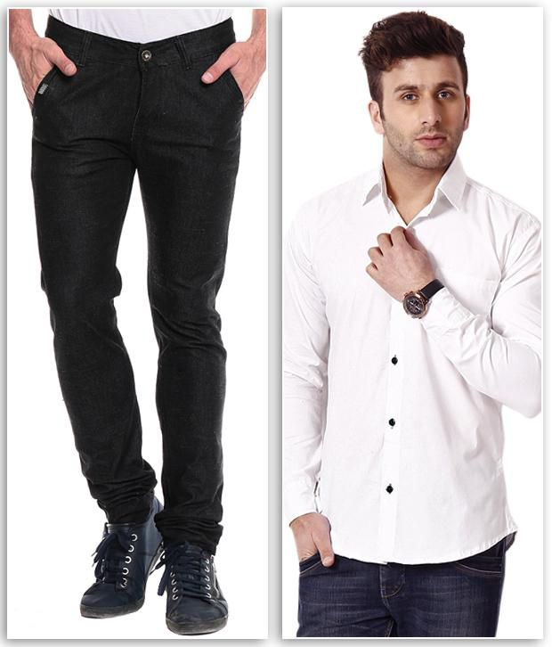 Ree Combo Of Black Slim Denim Jeans And White Shirt