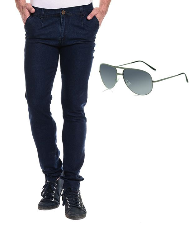 Ree Combo Of Blue Slim Denim Jeans And Sunglass