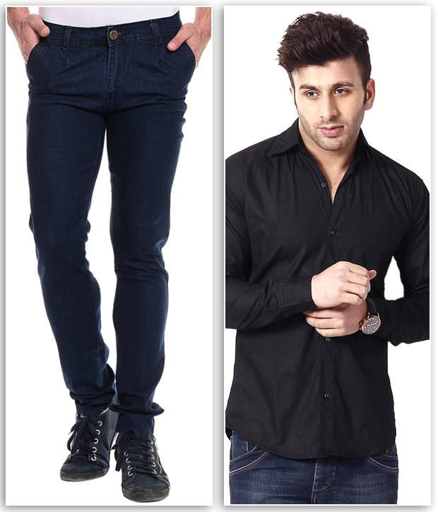 Ree combo of blue slim denim jeans and black shirt buy Black shirt blue jeans