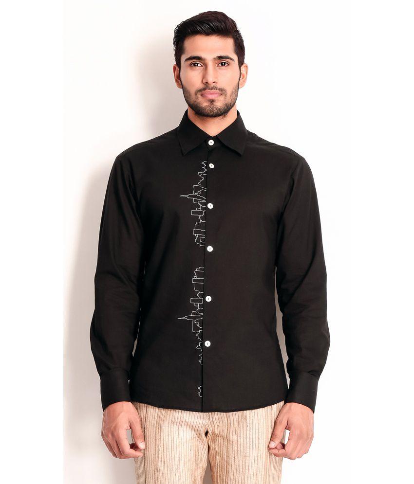 Designer Wear Black Cotton Shirt