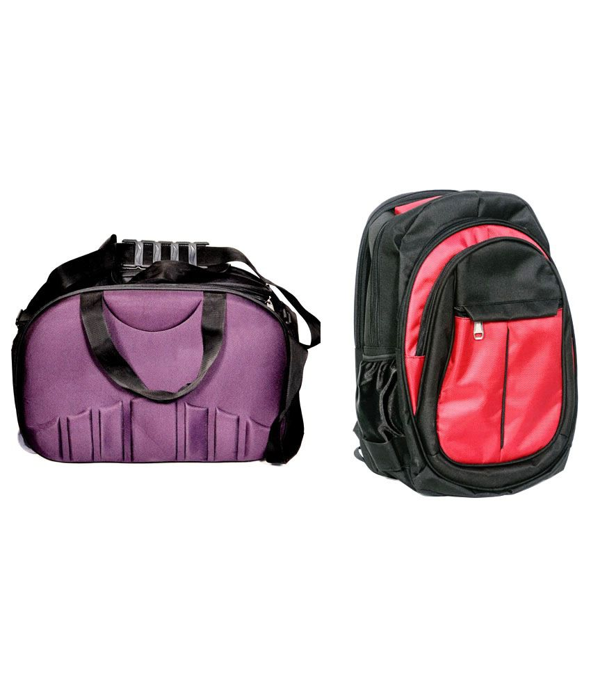 D Jindals Red With Purple Gym Bag