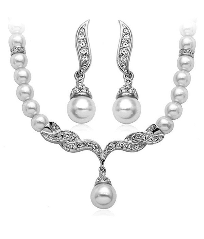 Gifts And Arts Elegant Angel Wings Pearl Necklace Earrings Set