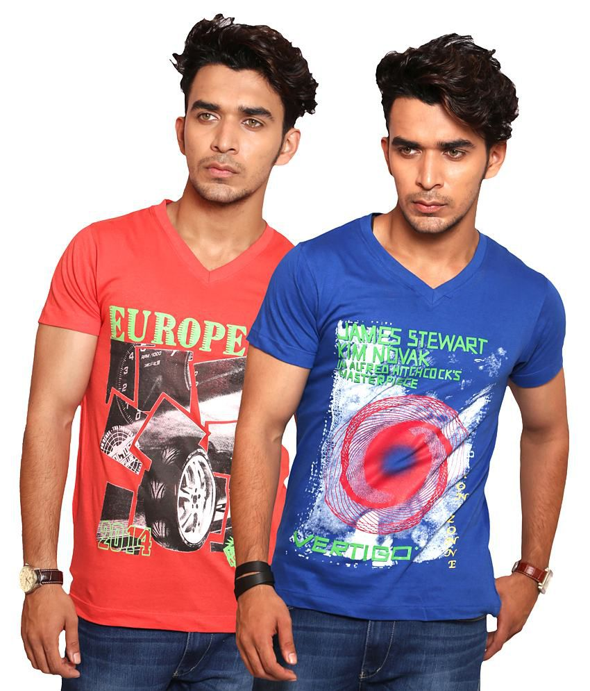 A1 Tees Stylish Red And Blue T- Shirts Combo
