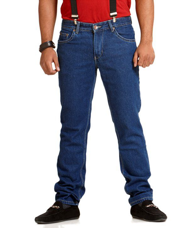 Slogo Blue Cotton Blend Denim Jeans