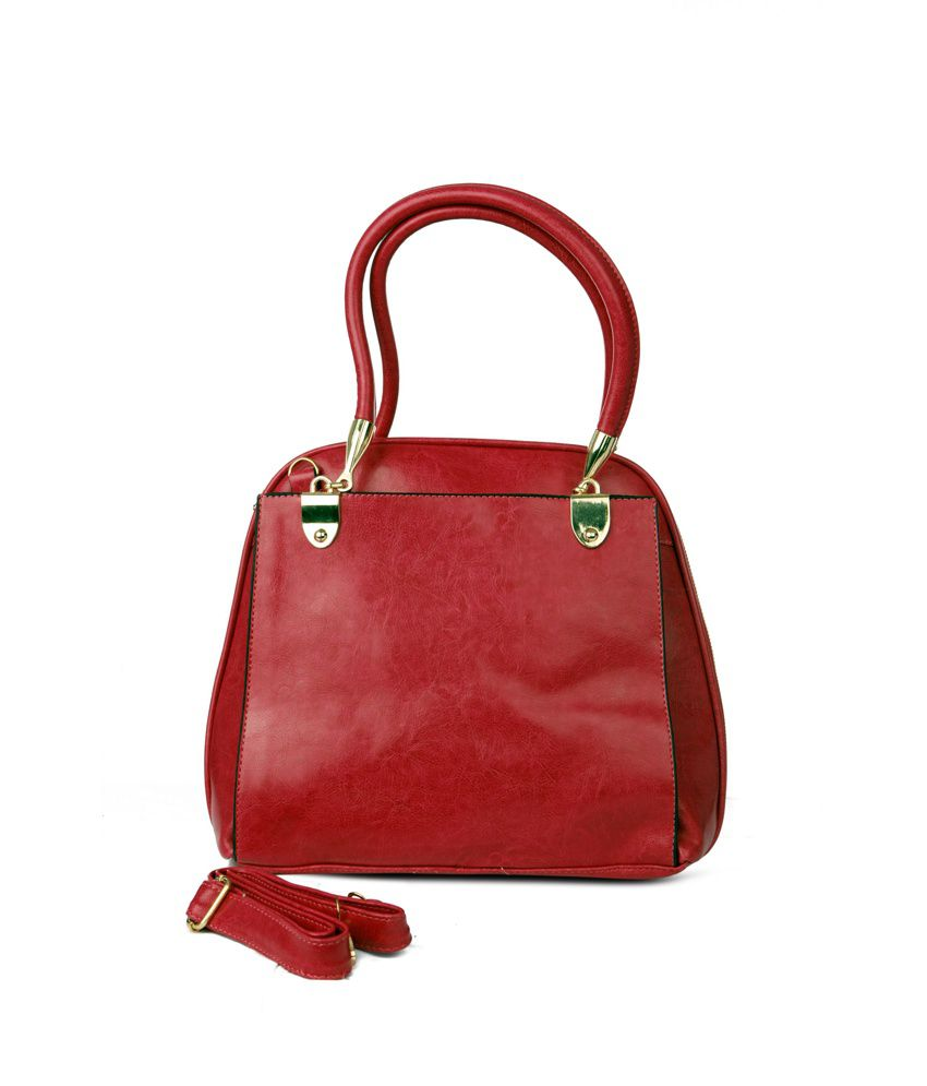 Just Women Dark Blood Red Pu Leather Tote