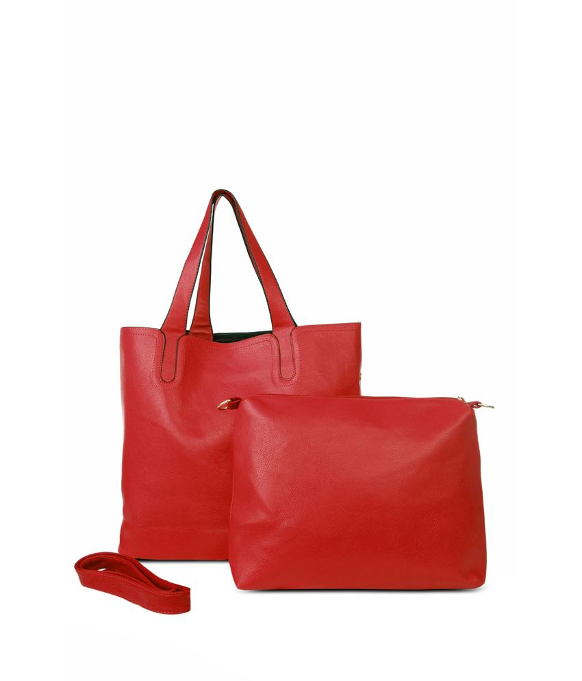 Just Women Plain Blood Red Pu Leather Bags Set Of 2 Online At Best Prices In India On Snapdeal