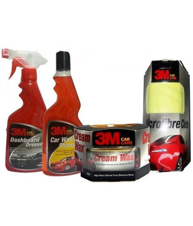 3m   Dashboard Dresser+ Car Wash Shampoo, Cream Wax And Microfiber Cloth