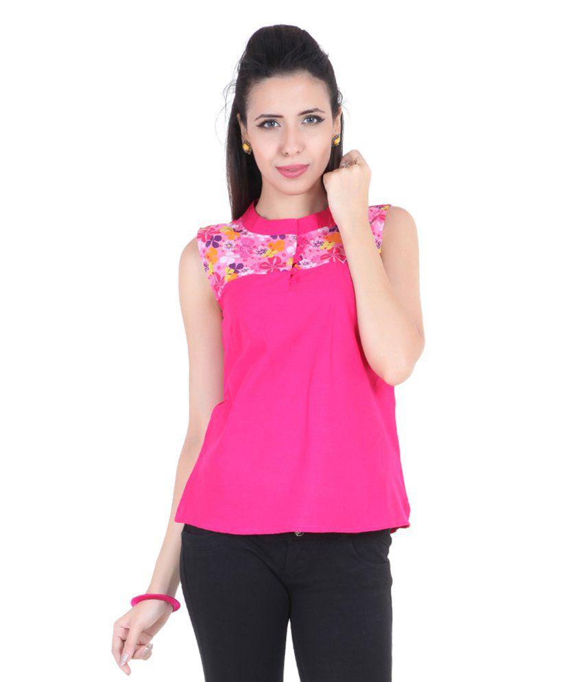 Namakh Pink Cotton Short Top/Kurti