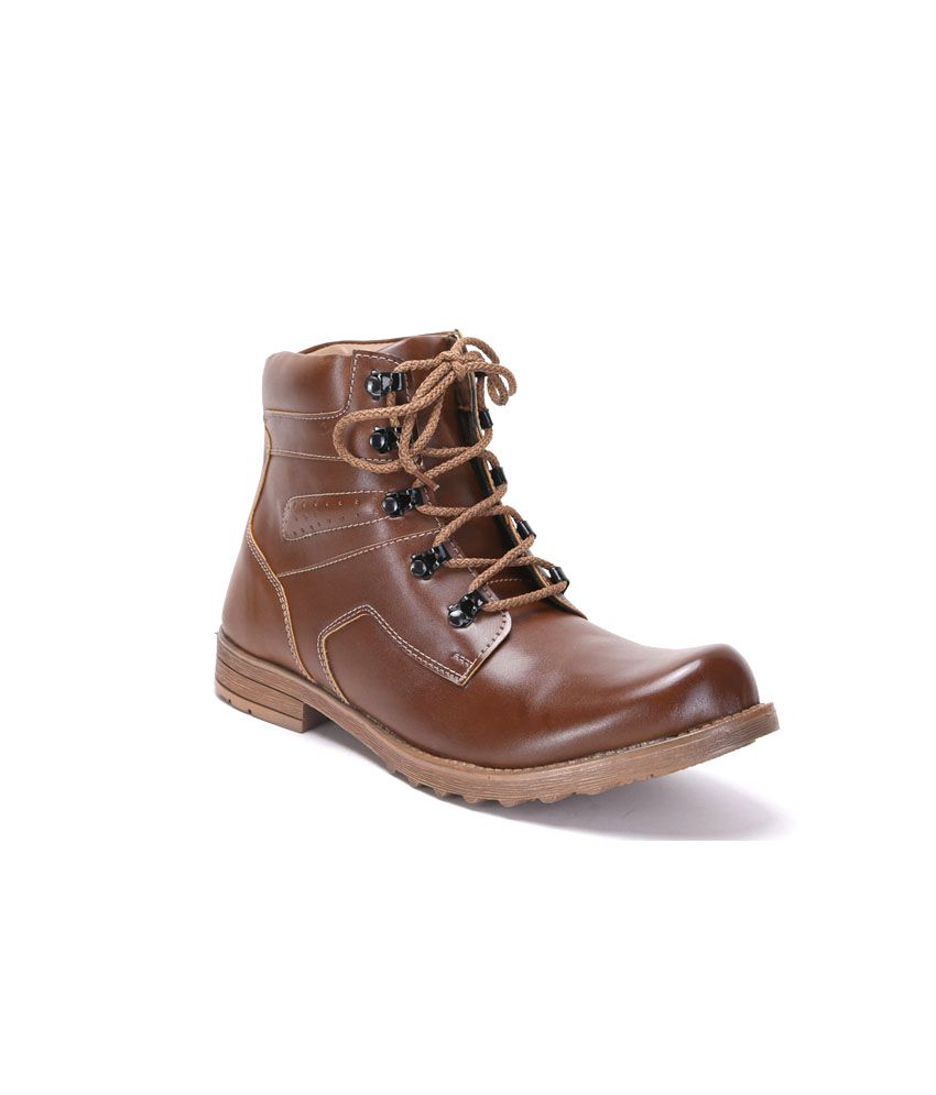Quarks Brown Faux Leather Mid Length Boot