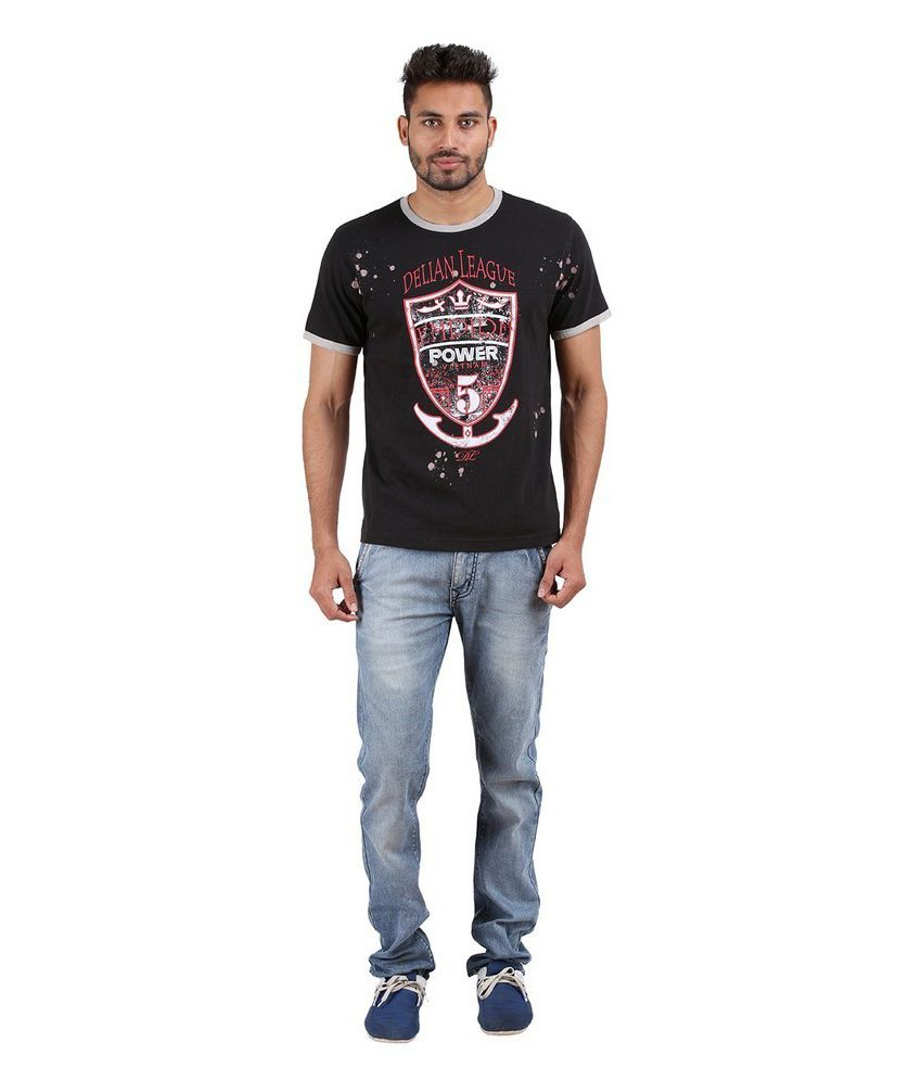 Goflaunt Black Cotton Blend T-shirt