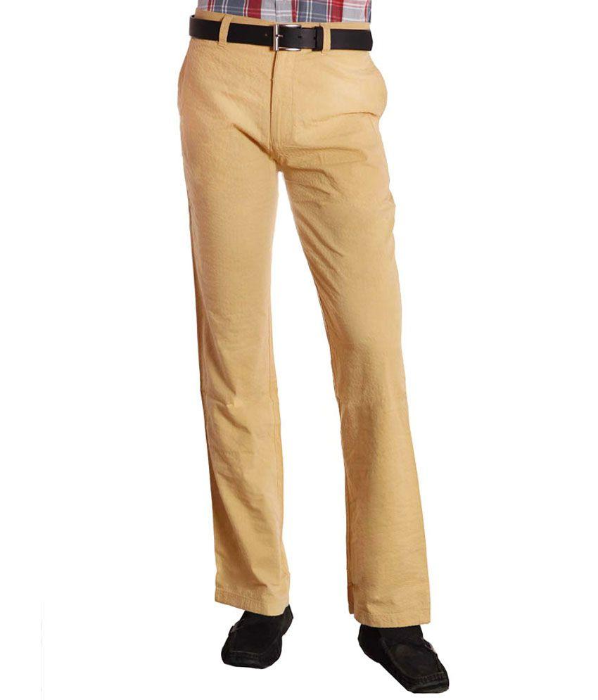 Koutons Khakhi Self Dotted Straight Formal Trouser