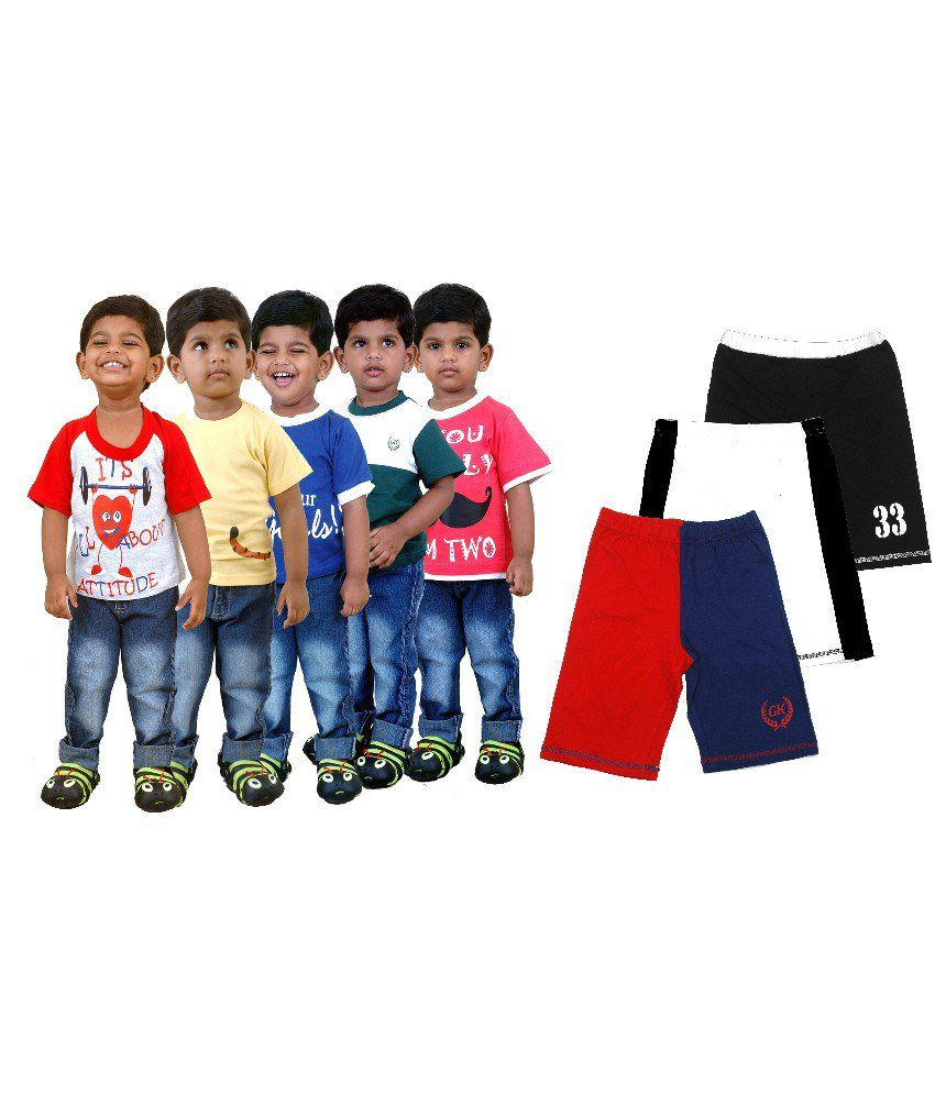 Gooway Pack of 5 Multi Colors Printed T-Shirts + Pack of 3 Shorts Combo Pack For Kids