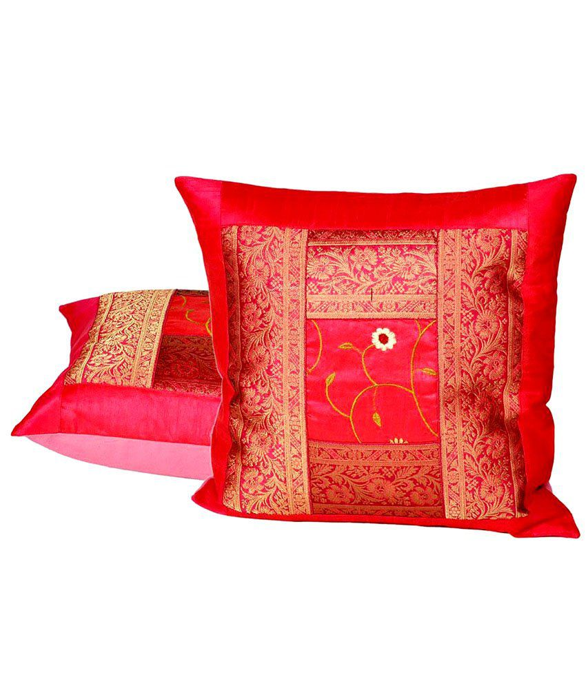 Little India Red Traditional Silk Set Of 2 Cushion Covers