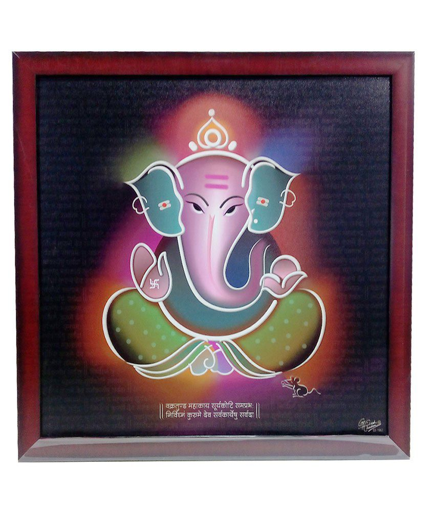 Aadi Shakti Devotional Canvas Colorful Print Ganesha Frame