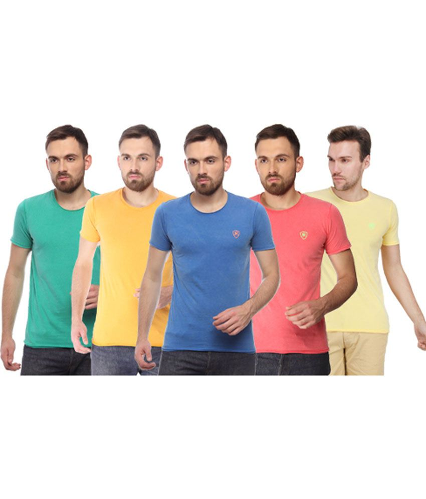 Blue Monkey Multicolour Round Cotton T-shirt - Set Of 5