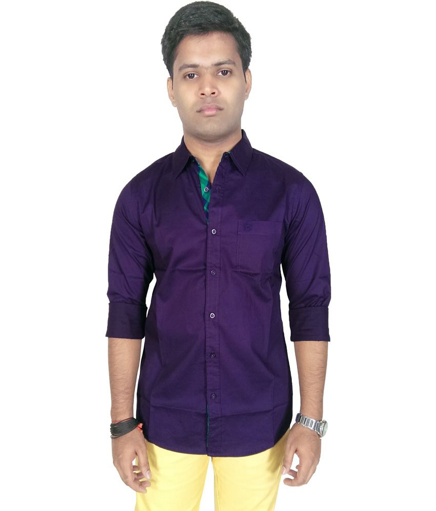 Southbay Purple Cotton Blend Full Casual Shirt