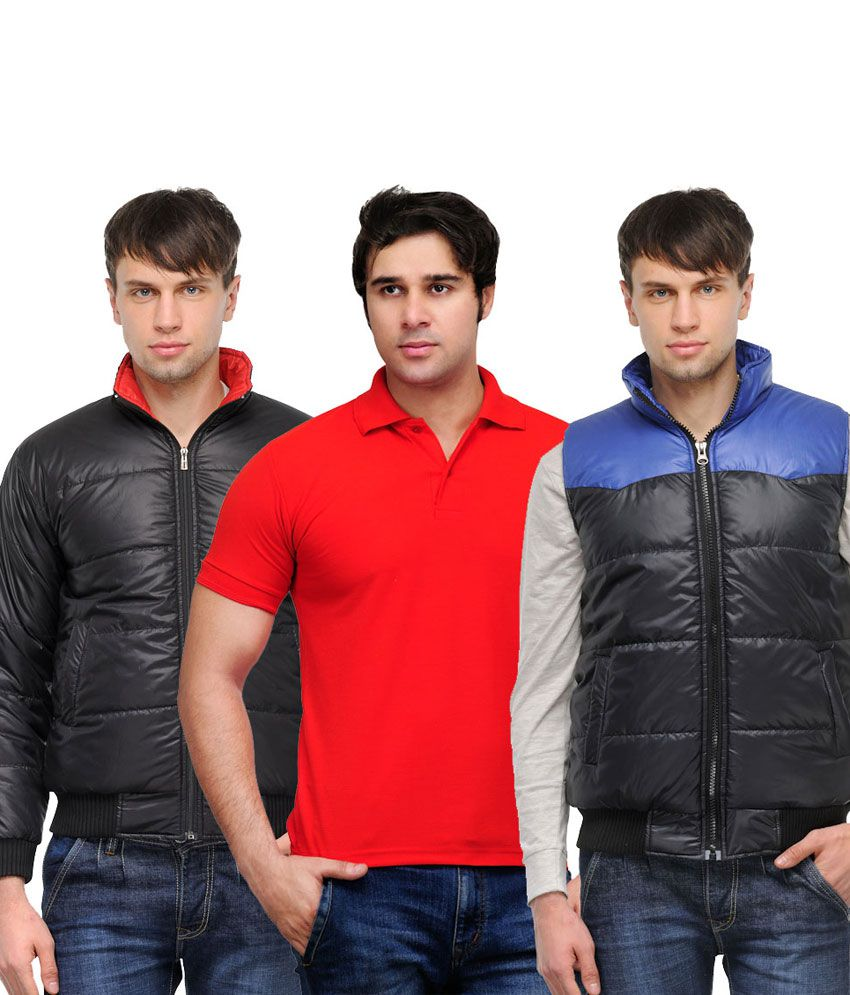 Black t shirt red collar - Tsx Combo Of Black Blue Jackets With Red Polo T Shirt