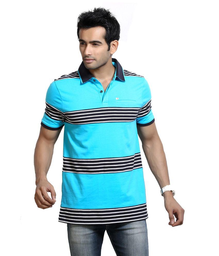 Design Classics Turquoise Cotton V-neck Half Sleeves Mens T-shirt