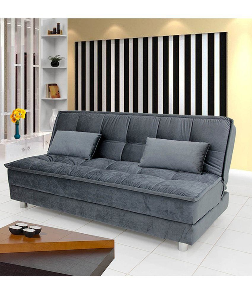 Sunrise sofa cum bed grey buy sunrise sofa cum bed for Sofa bed india