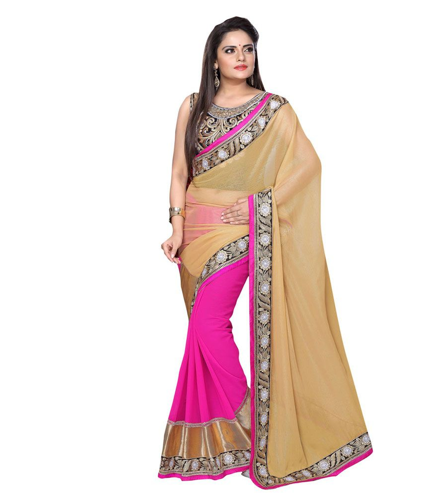 Manjubaa Pink Pure Georgette Printed Saree With Blouse Piece