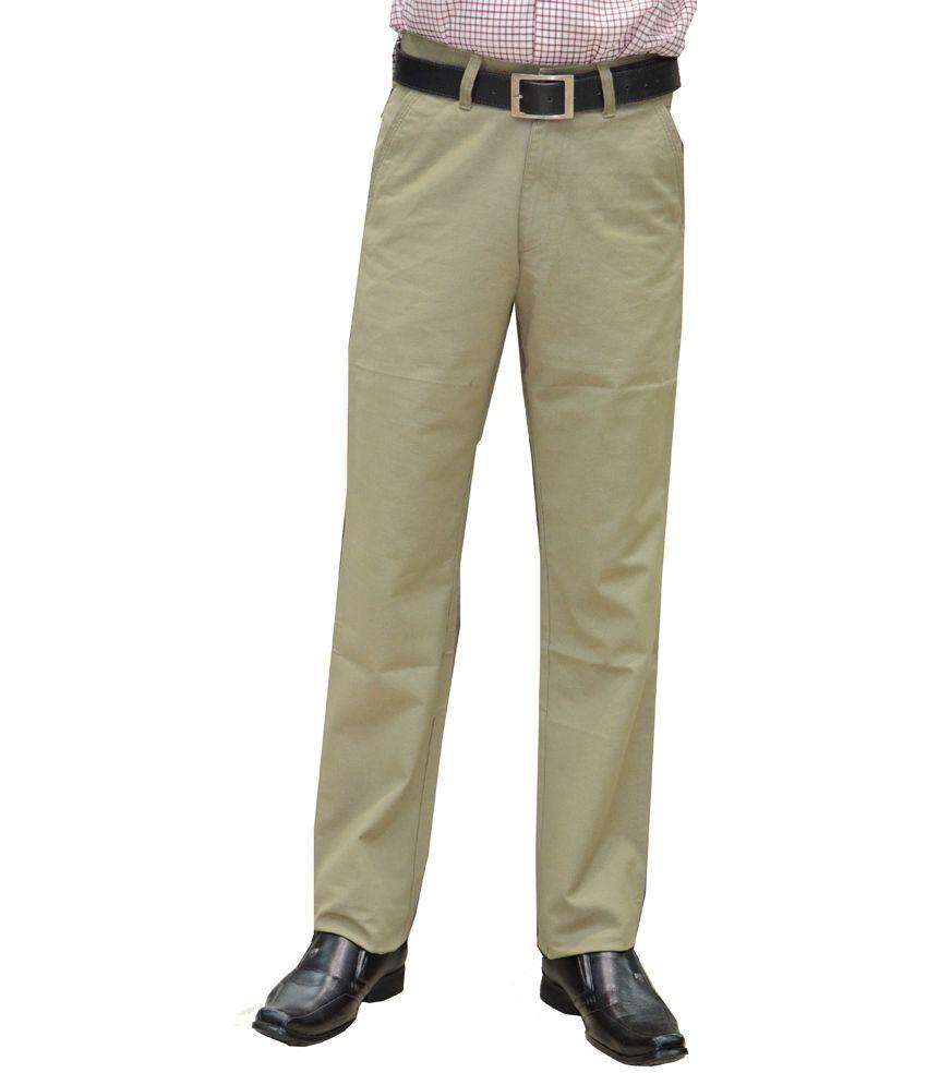 Marx Beige Cotton Slim Fit Semi Formal Trouser