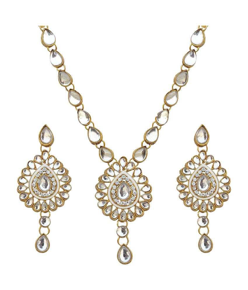 Dancing Girl Kundan Like Work White Necklace Set