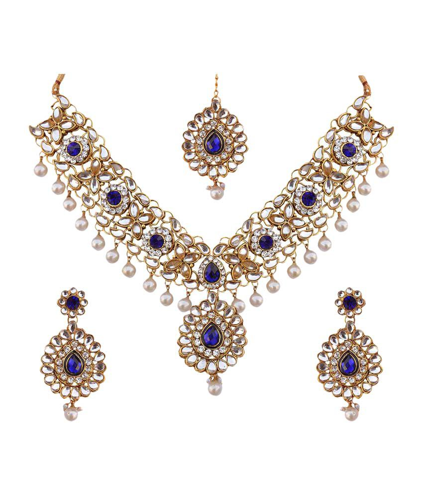 Dancing Girl Kundan Work With Blue Stones Pearls Necklace Set