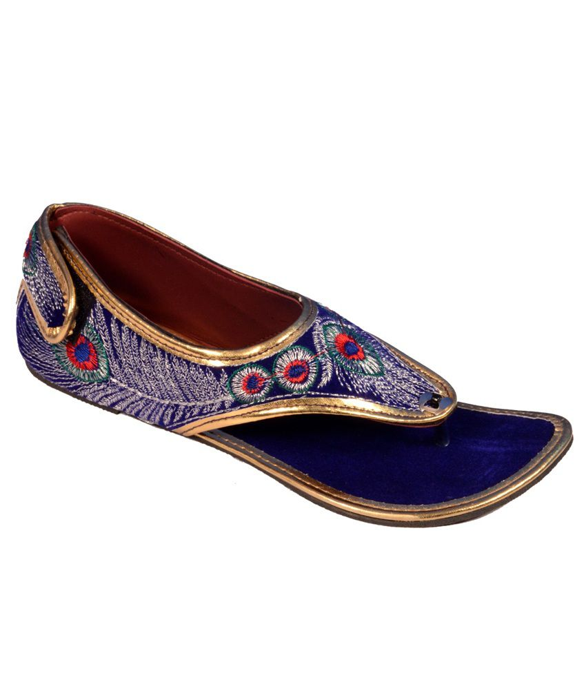 Footwear Blue Flat Daily Wear Embroidered Peacock Sandle