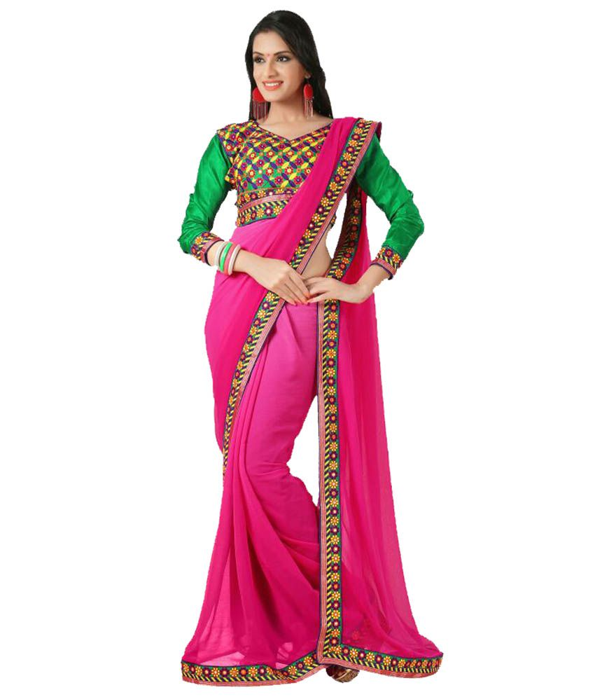 Sare Shoppers Pink Faux Georgette Saree