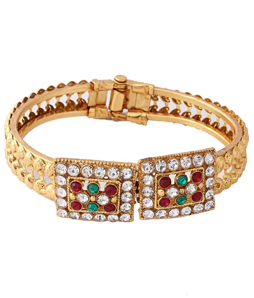 Variation Red & Green Stone Gold Plated Openable Bangle