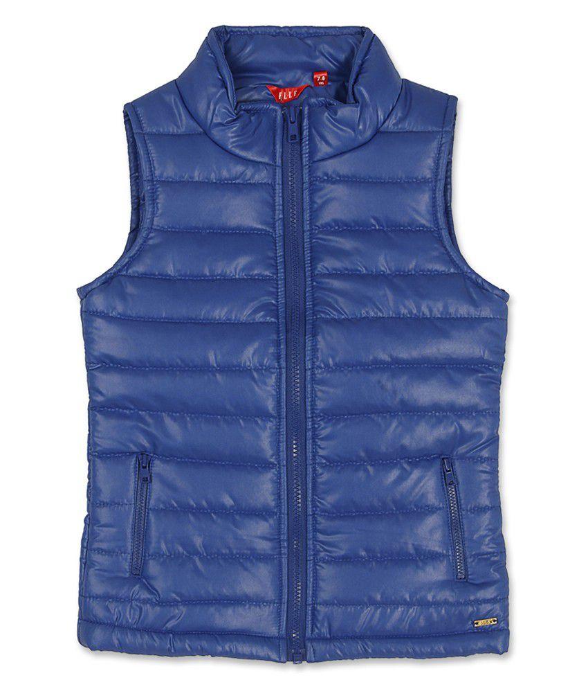 Elle Kids Girl's Blue Regular Fit Jacket