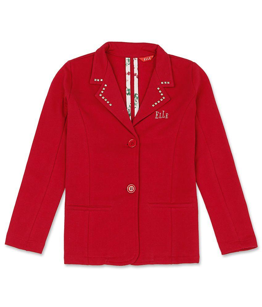 Elle Kids Girl's Red Regular Fit Jacket