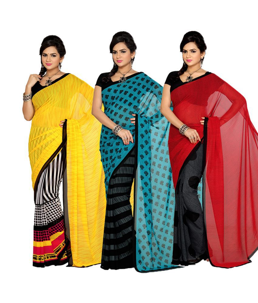 Ishin Prints Multi Color Printed Faux Georgette Saree With Blouse Piece - Set Of 3
