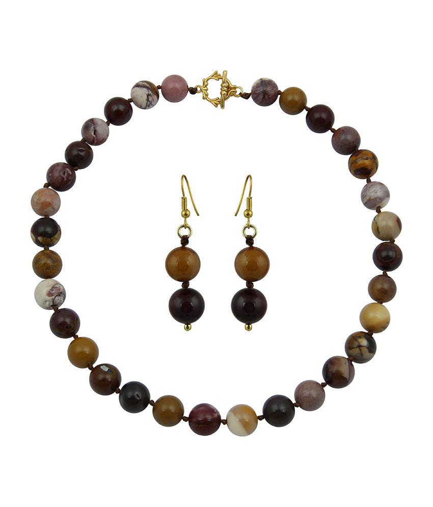 Pearlz Ocean Sestina Mookaite Gemstone Beads Necklace Set